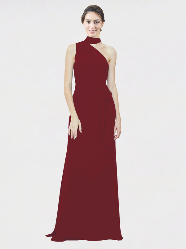 Mila Queen Crystal Bridesmaid Dress Burgundy - A-Line One Shoulder Long Bridesmaid Gown Crystal in Burgundy