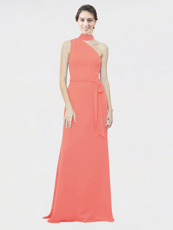 Mila Queen Crystal Bridesmaid Dress Coral - A-Line One Shoulder Long Bridesmaid Gown Crystal in Coral