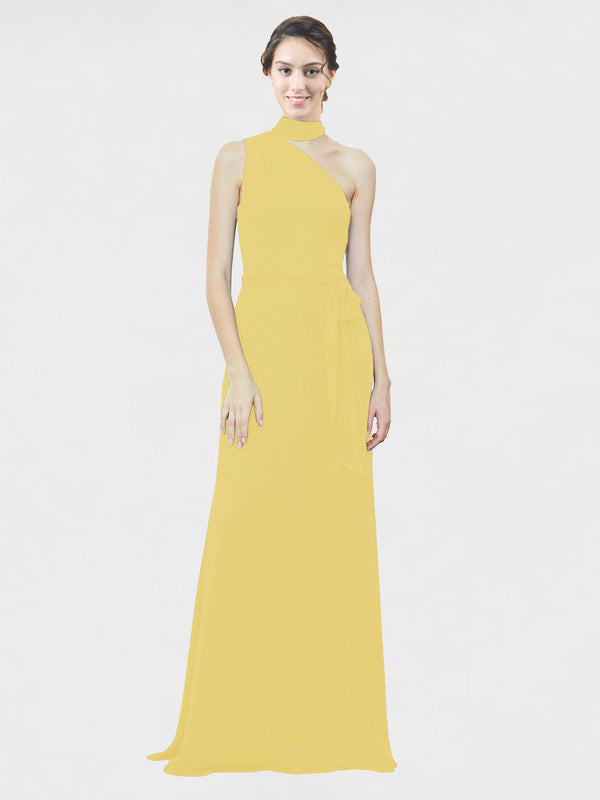 Mila Queen Crystal Bridesmaid Dress Daffodil - A-Line One Shoulder Long Bridesmaid Gown Crystal in Daffodil
