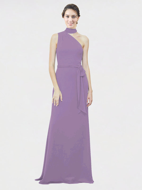 Mila Queen Crystal Bridesmaid Dress Dark Lavender - A-Line One Shoulder Long Bridesmaid Gown Crystal in Dark Lavender