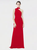 Mila Queen Crystal Bridesmaid Dress Dark Red - A-Line One Shoulder Long Bridesmaid Gown Crystal in Dark Red
