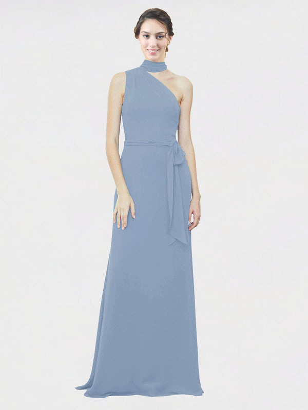 Mila Queen Crystal Bridesmaid Dress Dusty Blue - A-Line One Shoulder Long Bridesmaid Gown Crystal in Dusty Blue