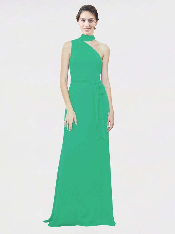 Mila Queen Crystal Bridesmaid Dress Emerald Green - A-Line One Shoulder Long Bridesmaid Gown Crystal in Emerald Green