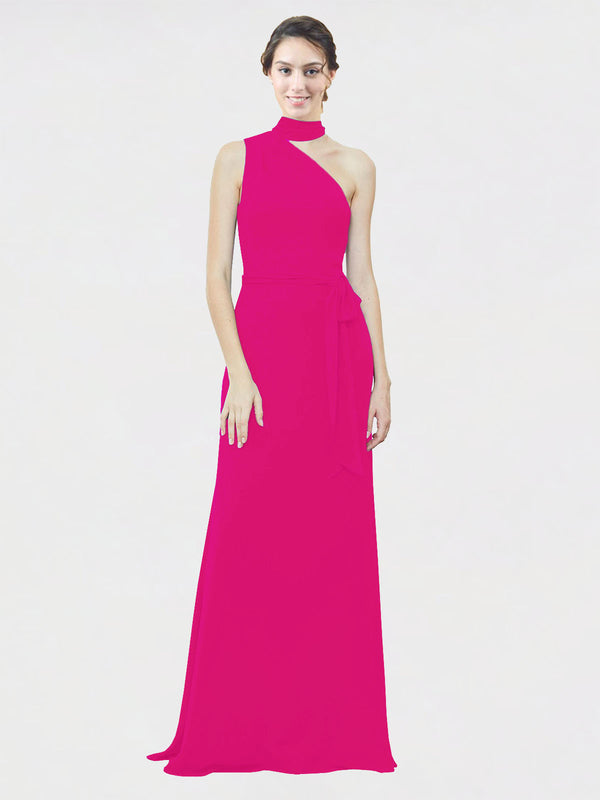Mila Queen Crystal Bridesmaid Dress Fuchsia - A-Line One Shoulder Long Bridesmaid Gown Crystal in Fuchsia