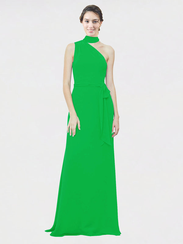 Mila Queen Crystal Bridesmaid Dress Green - A-Line One Shoulder Long Bridesmaid Gown Crystal in Green