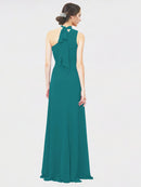Mila Queen Crystal Bridesmaid Dress in Hunter - A-Line One Shoulder Long Bridesmaid Gown Crystal in Hunter