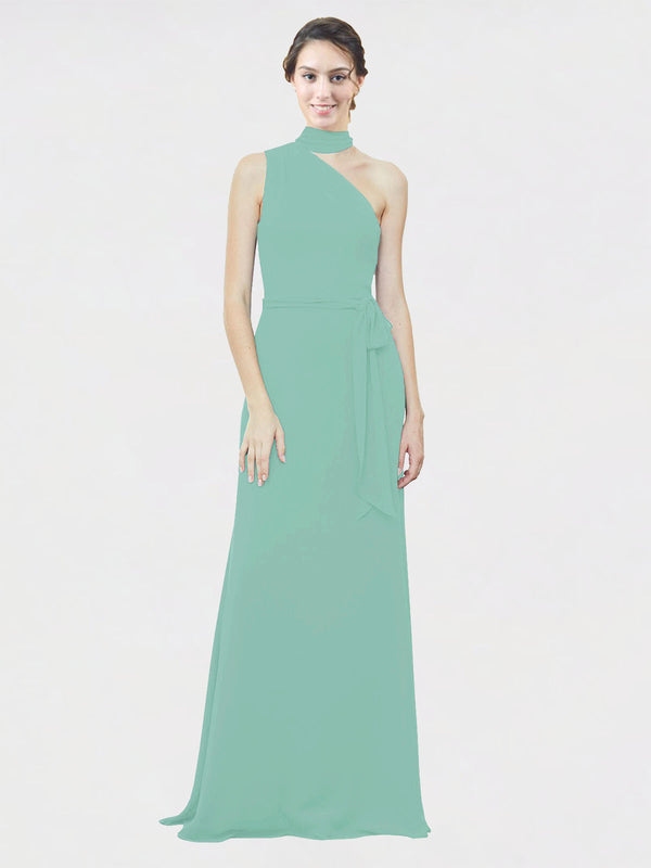 Mila Queen Crystal Bridesmaid Dress Jade - A-Line One Shoulder Long Bridesmaid Gown Crystal in Jade