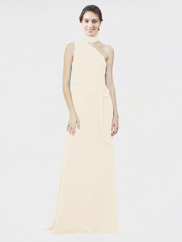Mila Queen Crystal Bridesmaid Dress Light Champagne - A-Line One Shoulder Long Bridesmaid Gown Crystal in Light Champagne