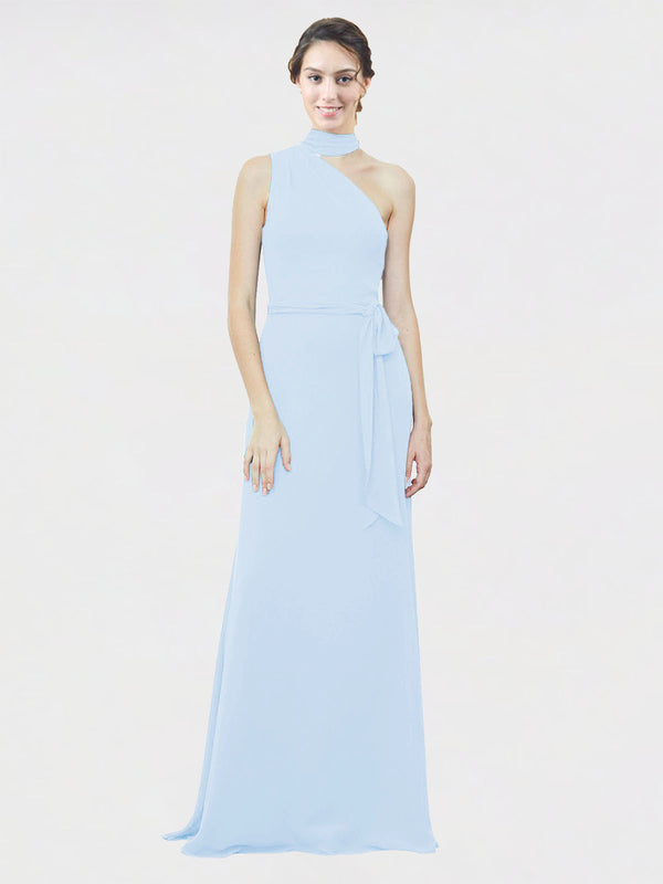 Mila Queen Crystal Bridesmaid Dress Light Sky Blue - A-Line One Shoulder Long Bridesmaid Gown Crystal in Light Sky Blue