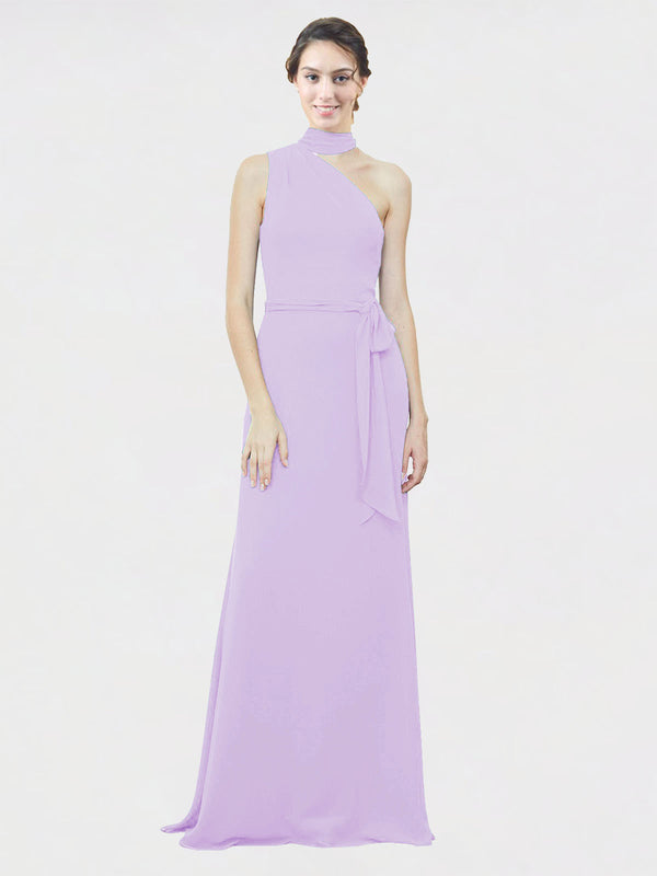 Mila Queen Crystal Bridesmaid Dress Lilac - A-Line One Shoulder Long Bridesmaid Gown Crystal in Lilac
