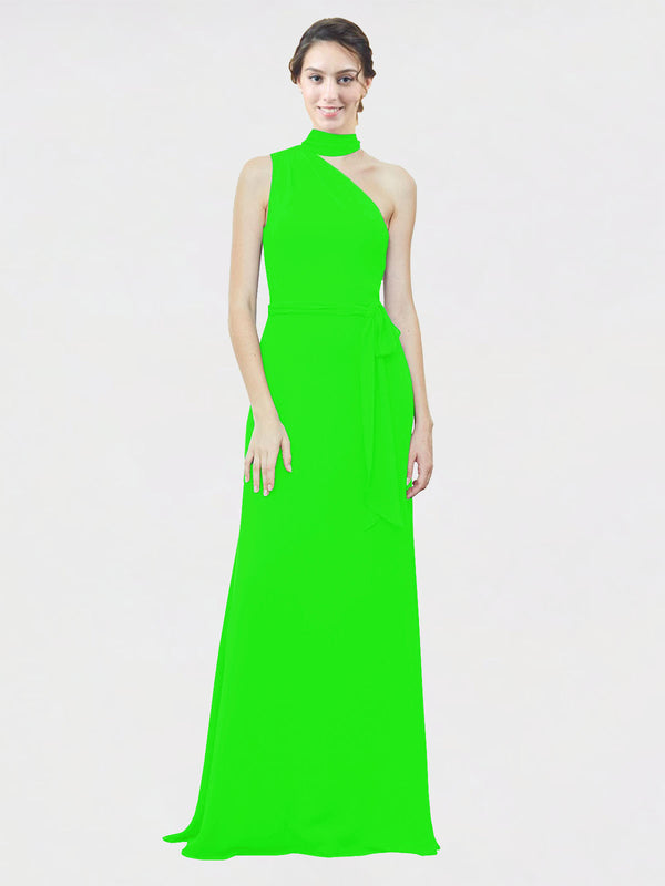Mila Queen Crystal Bridesmaid Dress Lime Green - A-Line One Shoulder Long Bridesmaid Gown Crystal in Lime Green