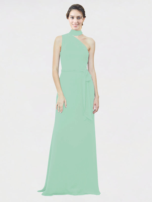 Mila Queen Crystal Bridesmaid Dress Mint Green - A-Line One Shoulder Long Bridesmaid Gown Crystal in Mint Green