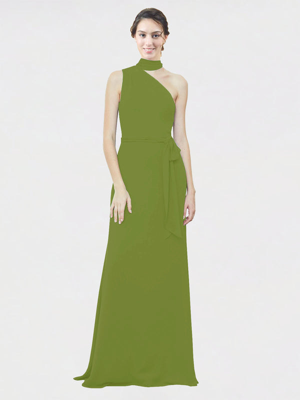 Mila Queen Crystal Bridesmaid Dress Olive Green - A-Line One Shoulder Long Bridesmaid Gown Crystal in Olive Green
