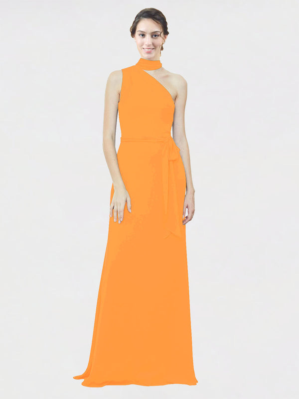 Mila Queen Crystal Bridesmaid Dress Orange - A-Line One Shoulder Long Bridesmaid Gown Crystal in Orange