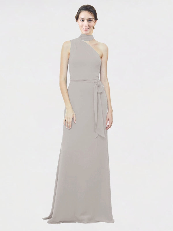 Mila Queen Crystal Bridesmaid Dress Oyster Silver - A-Line One Shoulder Long Bridesmaid Gown Crystal in Oyster Silver