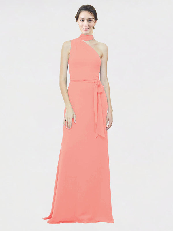 Mila Queen Crystal Bridesmaid Dress Peach - A-Line One Shoulder Long Bridesmaid Gown Crystal in Peach