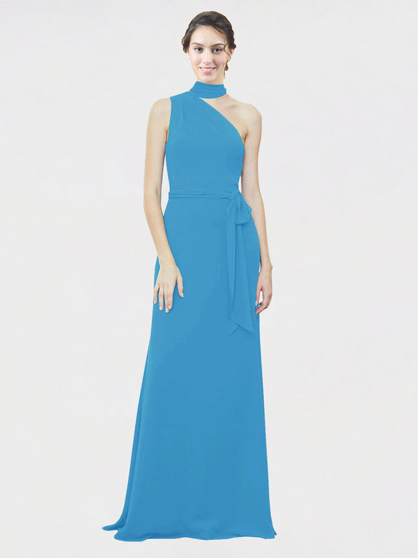Mila Queen Crystal Bridesmaid Dress Peacock Blue - A-Line One Shoulder Long Bridesmaid Gown Crystal in Peacock Blue