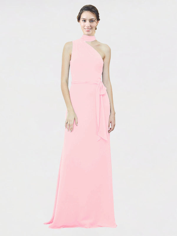 Mila Queen Crystal Bridesmaid Dress Pink - A-Line One Shoulder Long Bridesmaid Gown Crystal in Pink