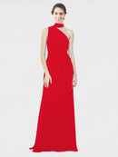 Mila Queen Crystal Bridesmaid Dress Red - A-Line One Shoulder Long Bridesmaid Gown Crystal in Red
