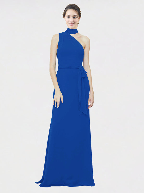Mila Queen Crystal Bridesmaid Dress Royal Blue - A-Line One Shoulder Long Bridesmaid Gown Crystal in Royal Blue