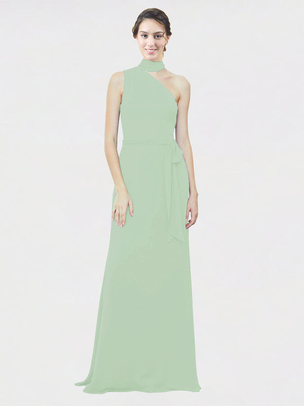 Mila Queen Crystal Bridesmaid Dress Sage - A-Line One Shoulder Long Bridesmaid Gown Crystal in Sage