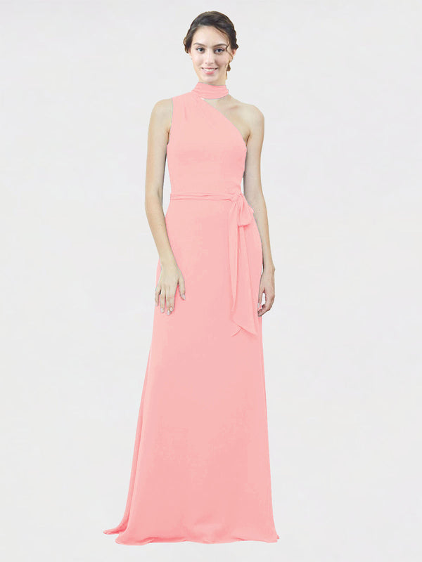 Mila Queen Crystal Bridesmaid Dress Salmon - A-Line One Shoulder Long Bridesmaid Gown Crystal in Salmon