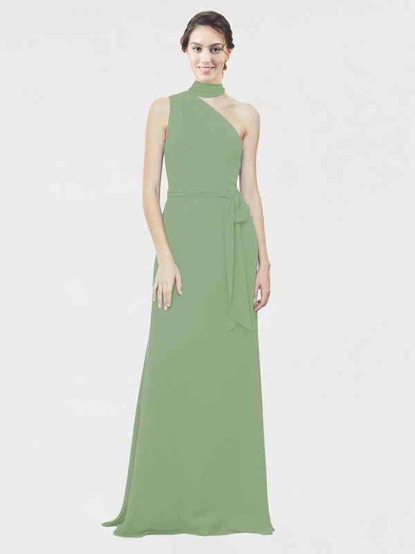 Mila Queen Crystal Bridesmaid Dress Seagrass - A-Line One Shoulder Long Bridesmaid Gown Crystal in Seagrass