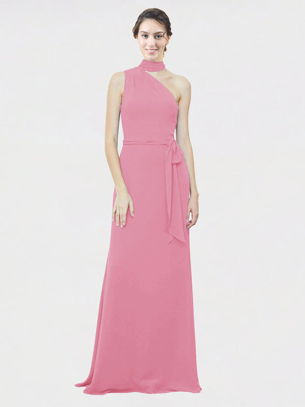 Mila Queen Crystal Bridesmaid Dress Skin Pink - A-Line One Shoulder Long Bridesmaid Gown Crystal in Skin Pink