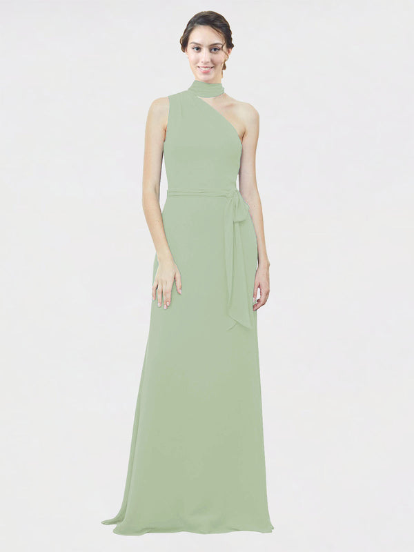 Mila Queen Crystal Bridesmaid Dress Smoke Green - A-Line One Shoulder Long Bridesmaid Gown Crystal in Smoke Green