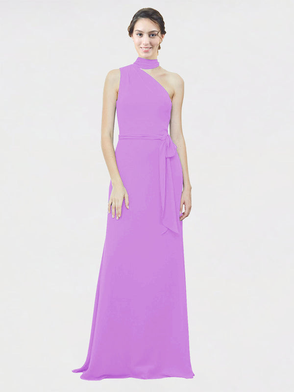 Mila Queen Crystal Bridesmaid Dress Violet - A-Line One Shoulder Long Bridesmaid Gown Crystal in Violet