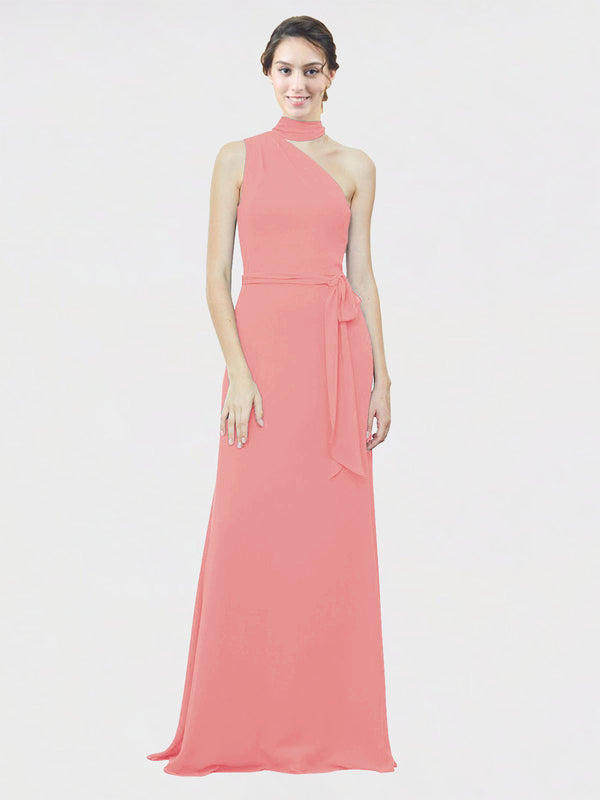 Mila Queen Crystal Bridesmaid Dress Watermelon - A-Line One Shoulder Long Bridesmaid Gown Crystal in Watermelon