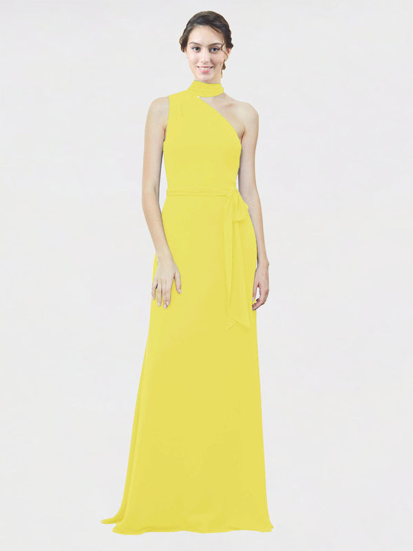 Mila Queen Crystal Bridesmaid Dress Yellow - A-Line One Shoulder Long Bridesmaid Gown Crystal in Yellow
