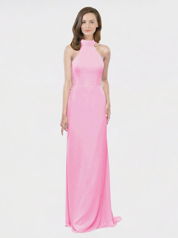 Mila Queen Stephany Bridesmaid Dress Barely Pink - A-Line High Neck Halter Long Bridesmaid Gown Stephany in Barely Pink