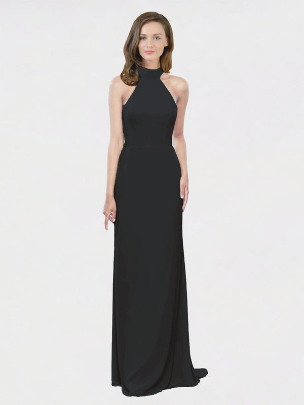 Mila Queen Stephany Bridesmaid Dress Black - A-Line High Neck Halter Long Bridesmaid Gown Stephany in Black