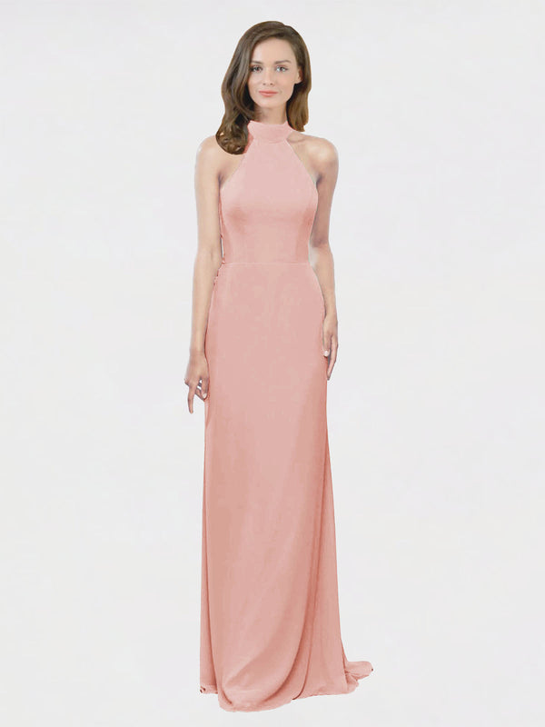 Mila Queen Stephany Bridesmaid Dress Bliss - A-Line High Neck Halter Long Bridesmaid Gown Stephany in Bliss