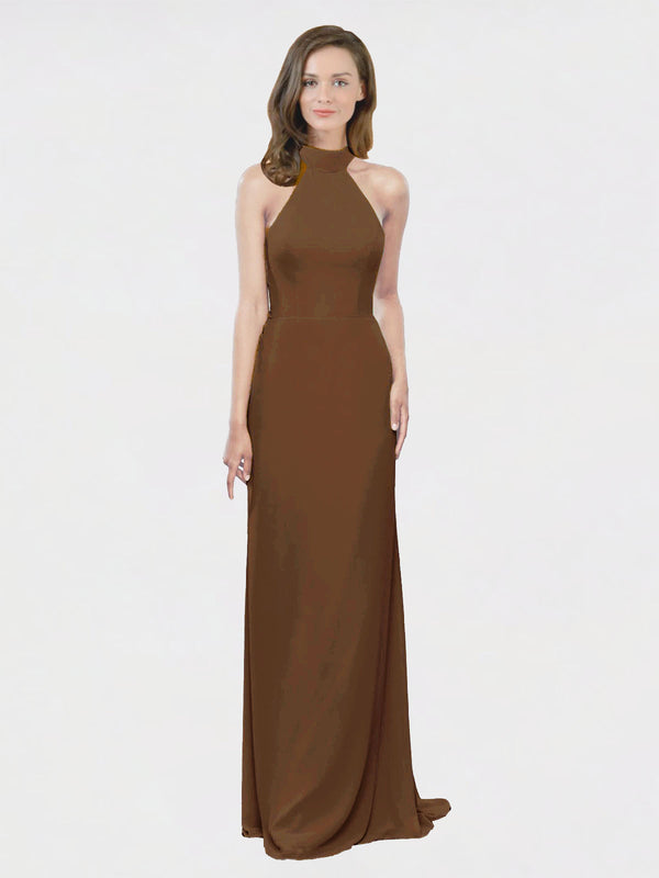 Mila Queen Stephany Bridesmaid Dress Brown - A-Line High Neck Halter Long Bridesmaid Gown Stephany in Brown