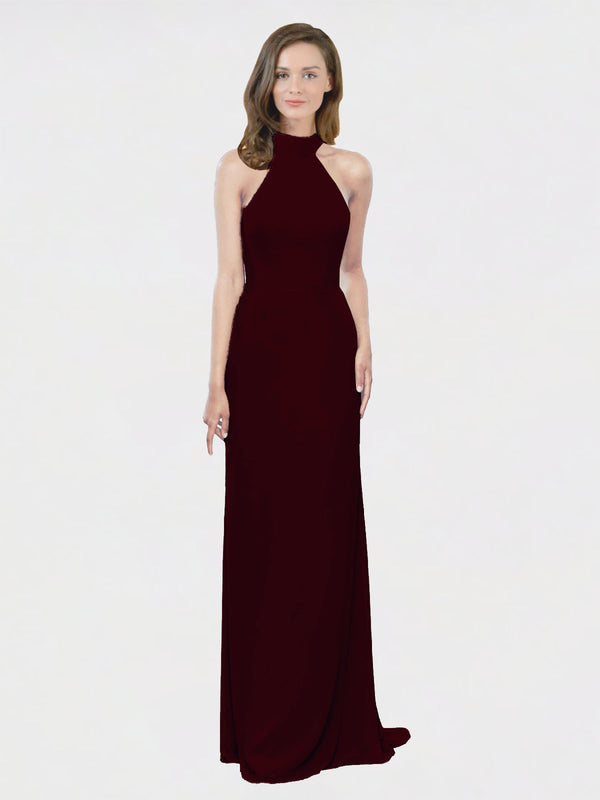 Mila Queen Stephany Bridesmaid Dress Burgundy Gold - A-Line High Neck Halter Long Bridesmaid Gown Stephany in Burgundy Gold