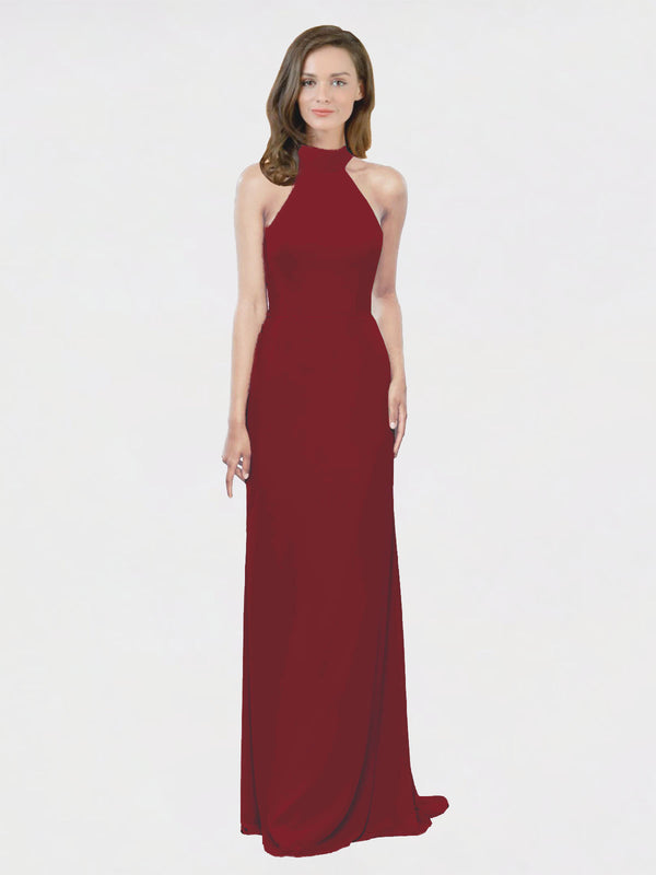 Mila Queen Stephany Bridesmaid Dress Burgundy - A-Line High Neck Halter Long Bridesmaid Gown Stephany in Burgundy