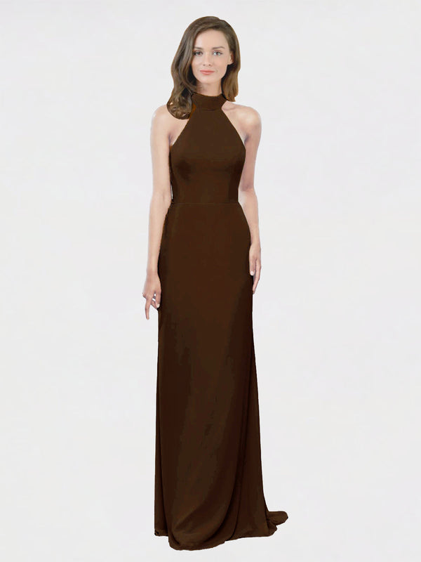 Mila Queen Stephany Bridesmaid Dress Chocolate - A-Line High Neck Halter Long Bridesmaid Gown Stephany in Chocolate