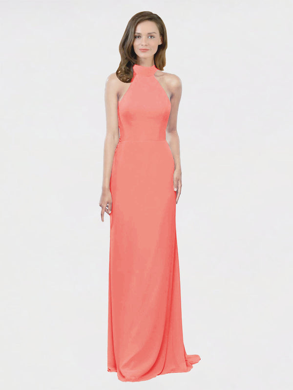 Mila Queen Stephany Bridesmaid Dress Coral - A-Line High Neck Halter Long Bridesmaid Gown Stephany in Coral