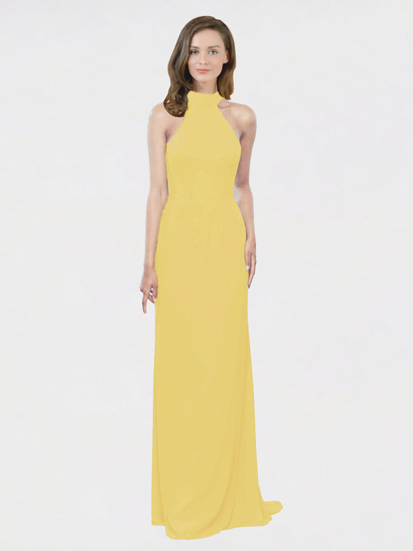 Mila Queen Stephany Bridesmaid Dress Daffodil - A-Line High Neck Halter Long Bridesmaid Gown Stephany in Daffodil
