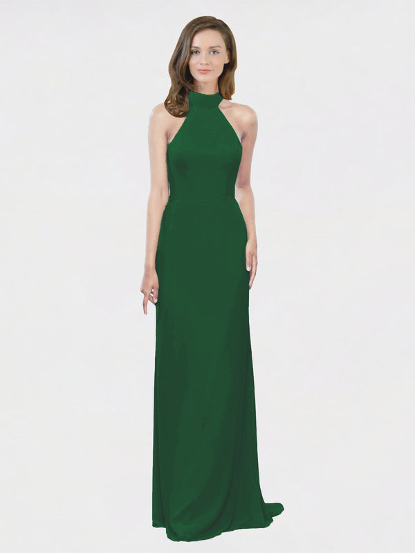 Mila Queen Stephany Bridesmaid Dress Dark Green - A-Line High Neck Halter Long Bridesmaid Gown Stephany in Dark Green
