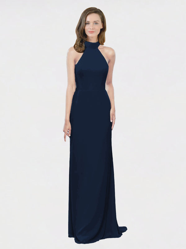Mila Queen Stephany Bridesmaid Dress Dark Navy - A-Line High Neck Halter Long Bridesmaid Gown Stephany in Dark Navy