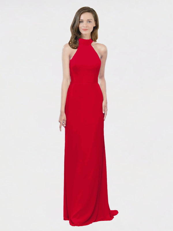 Mila Queen Stephany Bridesmaid Dress Dark Red - A-Line High Neck Halter Long Bridesmaid Gown Stephany in Dark Red