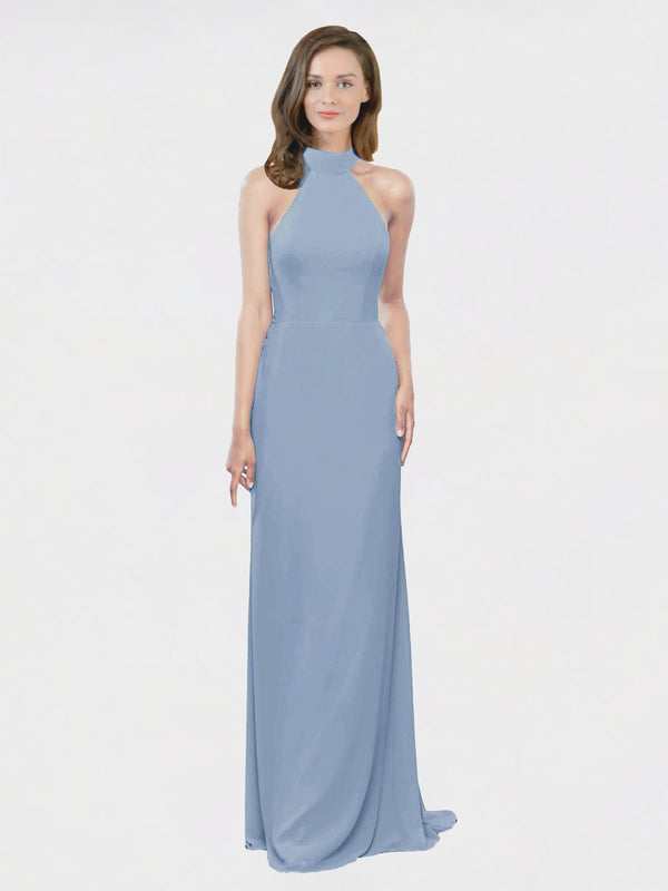 Mila Queen Stephany Bridesmaid Dress Dusty Blue - A-Line High Neck Halter Long Bridesmaid Gown Stephany in Dusty Blue
