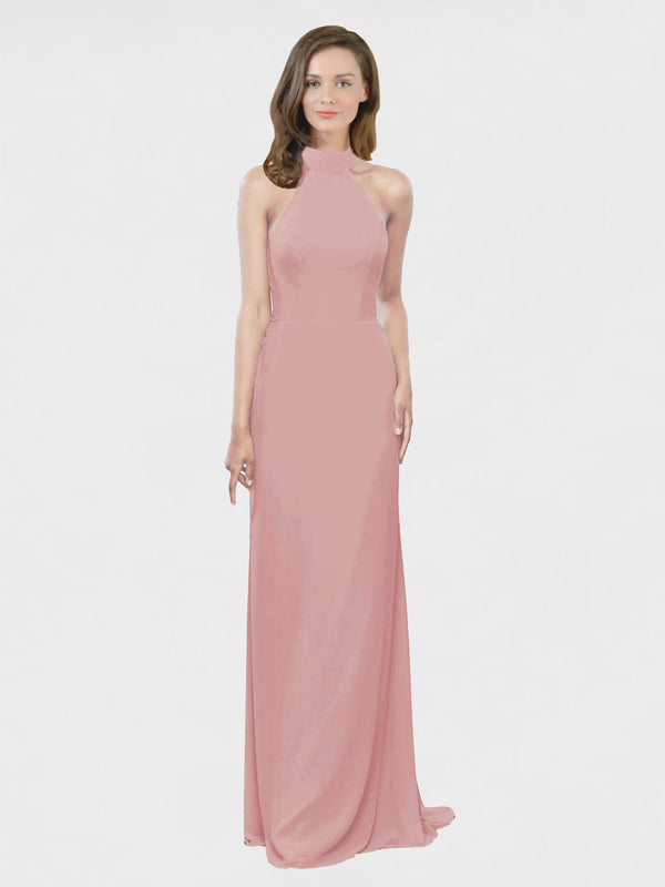 Mila Queen Stephany Bridesmaid Dress Dusty Pink - A-Line High Neck Halter Long Bridesmaid Gown Stephany in Dusty Pink