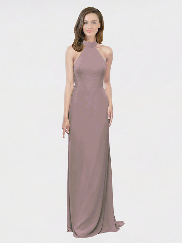 Mila Queen Stephany Bridesmaid Dress Dusty Rose - A-Line High Neck Halter Long Bridesmaid Gown Stephany in Dusty Rose