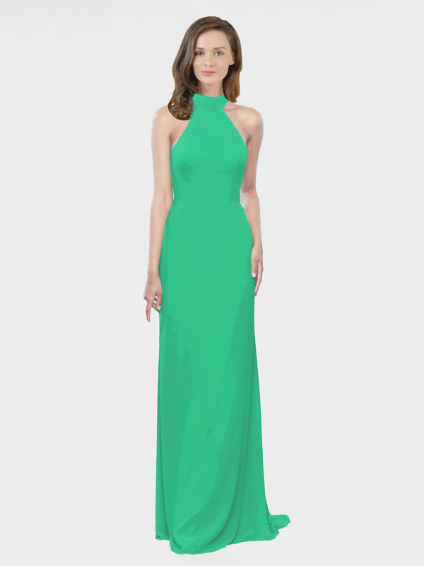 Mila Queen Stephany Bridesmaid Dress Emerald Green - A-Line High Neck Halter Long Bridesmaid Gown Stephany in Emerald Green