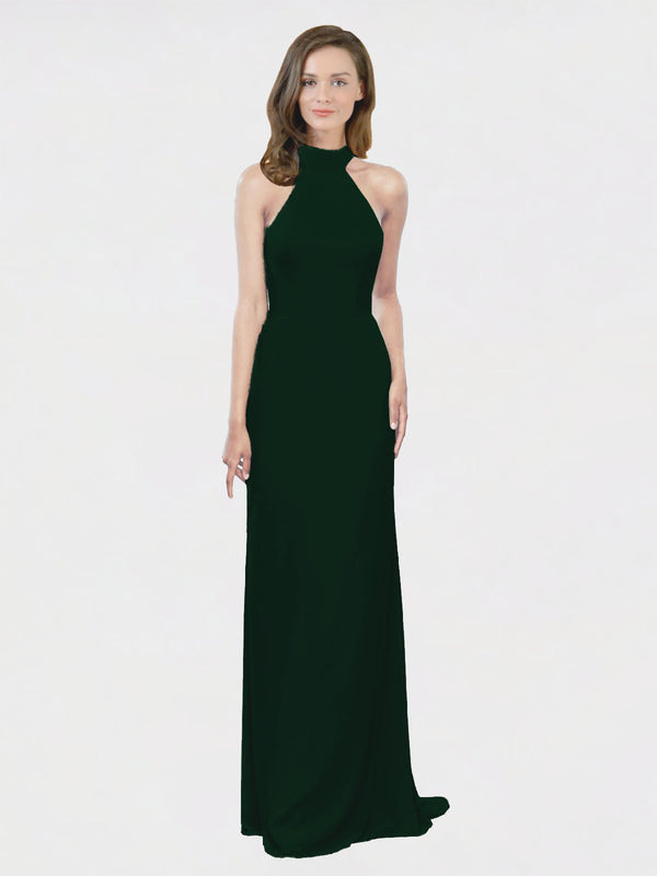 Mila Queen Stephany Bridesmaid Dress Ever Green - A-Line High Neck Halter Long Bridesmaid Gown Stephany in Ever Green
