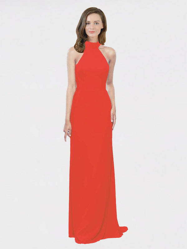 Mila Queen Stephany Bridesmaid Dress Firecracker - A-Line High Neck Halter Long Bridesmaid Gown Stephany in Firecracker